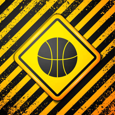 Black Basketball ball icon isolated on yellow background. Sport symbol. Warning sign. Vector Illustration Vettoriali