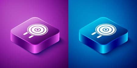 Isometric Target sport icon isolated on blue and purple background. Clean target with numbers for shooting range or shooting. Square button. Vector Illustration