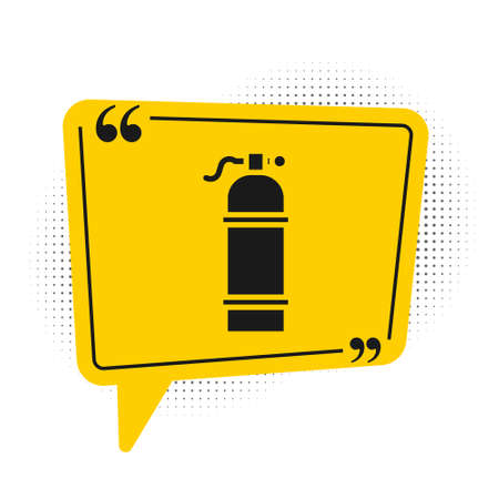Black Aqualung icon isolated on white background. Oxygen tank for diver. Diving equipment. Extreme sport. Sport equipment. Yellow speech bubble symbol. Vector Illustration