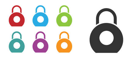 Black Kettlebell icon isolated on white background. Sport equipment. Set icons colorful. Vector Illustration