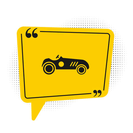 Black Vintage sport racing car icon isolated on white background. Yellow speech bubble symbol. Vector Illustration Vettoriali