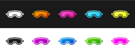 Set Ski goggles icon isolated on black and white background. Extreme sport. Sport equipment. Vector Illustration