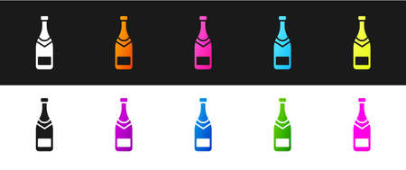Set Champagne bottle icon isolated on black and white background. Vector Illustration