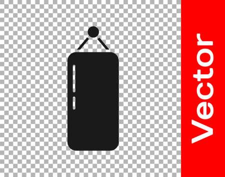 Black Punching bag icon isolated on transparent background. Vector Illustration