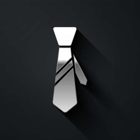Silver Tie icon isolated on black background. Necktie and neckcloth symbol. Long shadow style. Vector Illustration 向量圖像