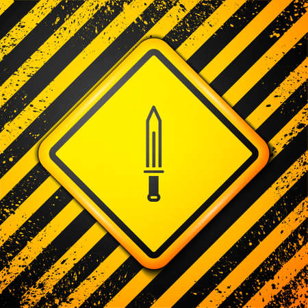 Black Medieval sword icon isolated on yellow background. Medieval weapon. Warning sign. Vector