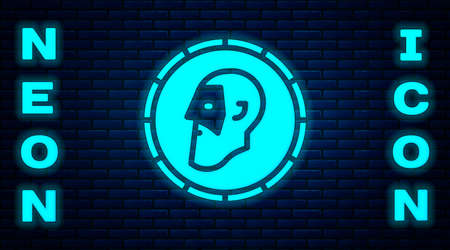 Glowing neon Ancient coin icon isolated on brick wall background. Vector