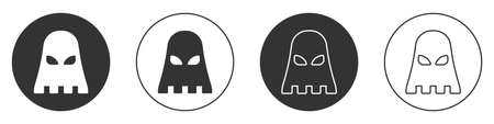 Black Executioner mask icon isolated on white background. Hangman, torturer, executor, tormentor, butcher, headsman icon. Circle button. Vector