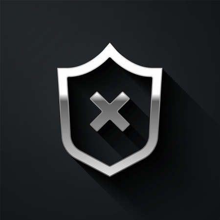 Silver Shield with cross mark icon isolated on black background. Shield and rejected. Notice of refusal. Long shadow style. Vector