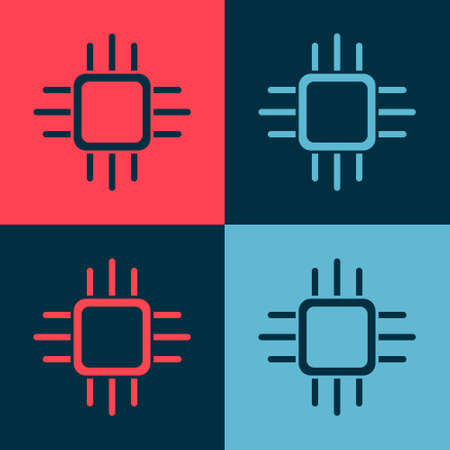 Pop art Computer processor with microcircuits CPU icon isolated on color background. Chip or cpu with circuit board. Micro processor. Vector