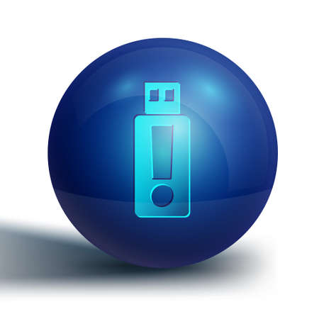 Blue USB flash drive icon isolated on white background. Blue circle button. Vector
