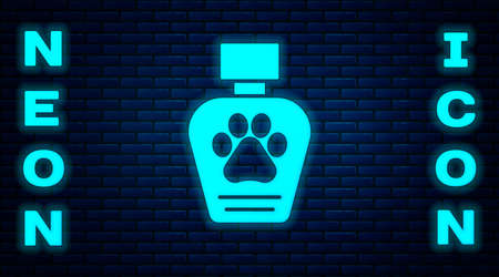 Glowing neon Pet shampoo icon isolated on brick wall background. Pets care sign. Dog cleaning symbol. Vector