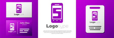 Logotype New chat messages notification on phone icon isolated on white background. Smartphone chatting sms messages speech bubbles. Logo design template element. Vector