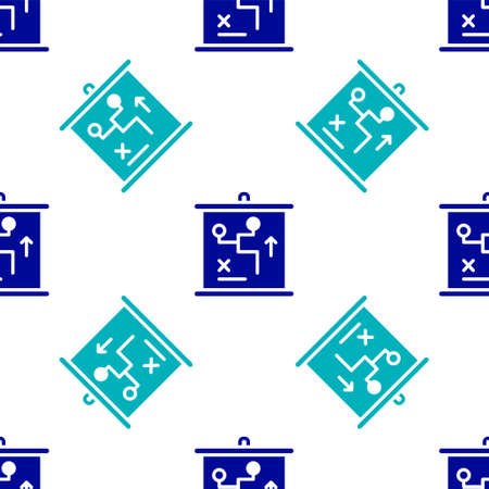 Blue Planning strategy concept icon isolated seamless pattern on white background. Cup formation and tactic. Vector Vettoriali
