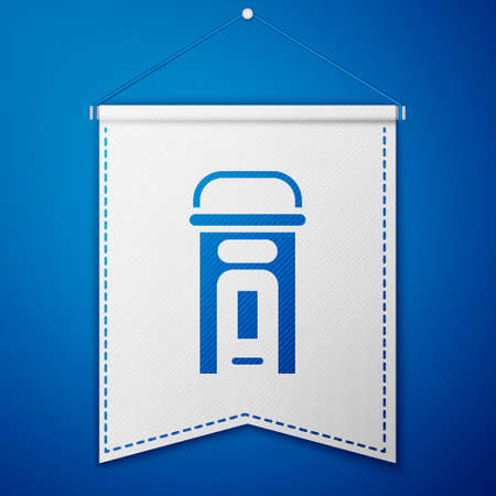 Blue London phone booth icon isolated on blue background. Classic english booth phone in london. English telephone street box. White pennant template. Vector