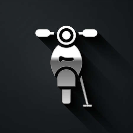 Silver Scooter icon isolated on black background. Long shadow style. Vector