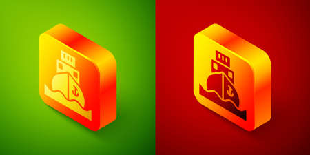 Isometric Cargo ship icon isolated on green and red background. Square button. Vector