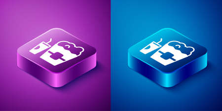 Isometric Popcorn in cardboard box and paper glass with drinking straw and water icon isolated on blue and purple background. Soda drink glass. Square button. Vector