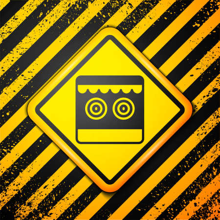 Black Shooting gallery icon isolated on yellow background. Warning sign. Vector Ilustração