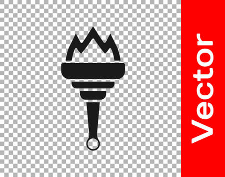 Black Torch flame icon isolated on transparent background. Symbol fire hot, flame power, flaming and heat. Vector