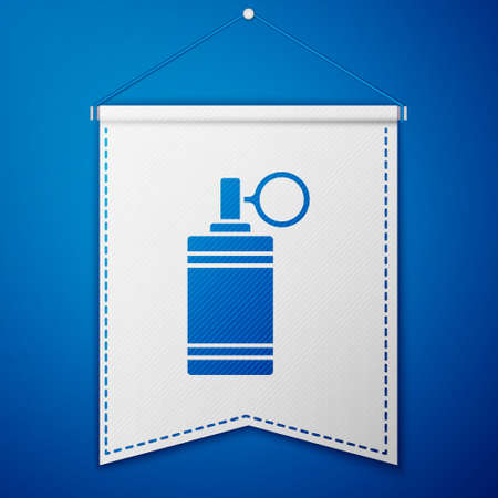 Blue Hand grenade icon isolated on blue background. Bomb explosion. White pennant template. Vector