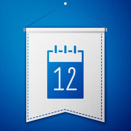 Blue Calendar 12 june icon isolated on blue background. Russian language 12 june Happy Russia Day. White pennant template. Vector