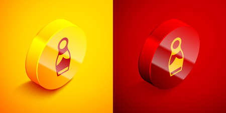 Isometric Russian doll matryoshka icon isolated on orange and red background. Circle button. Vector 向量圖像