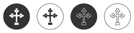 Black Christian cross icon isolated on white background. Church cross. Circle button. Vector Ilustrace