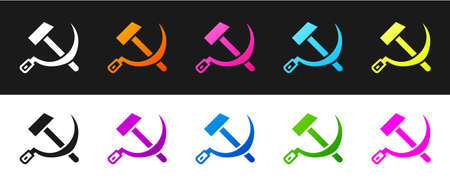 Set Hammer and sickle USSR icon isolated on black and white background. Symbol Soviet Union. Vector