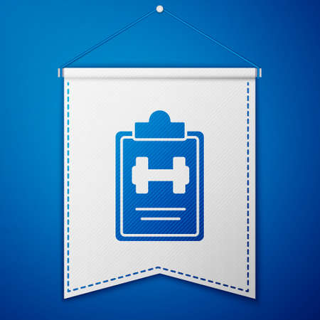 Blue Sport training program or fitness plan icon isolated on blue background. White pennant template. Vector