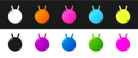 Set Kettlebell icon isolated on black and white background. Sport equipment. Vector