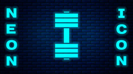 Glowing neon Dumbbell icon isolated on brick wall background. Muscle lifting icon, fitness barbell, gym, sports equipment, exercise bumbbell. Vector