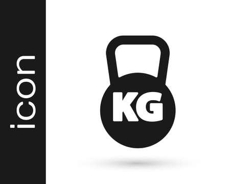 Black Kettlebell icon isolated on white background. Sport equipment. Vector Vettoriali