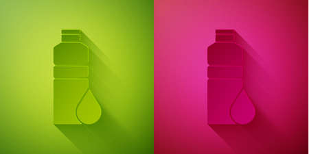 Paper cut Fitness shaker icon isolated on green and pink background. Sports shaker bottle with lid for water and protein cocktails. Paper art style. Vector