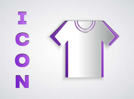Paper cut T-shirt icon isolated on grey background. Paper art style. Vector