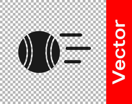 Black Tennis ball icon isolated on transparent background. Sport equipment. Vector