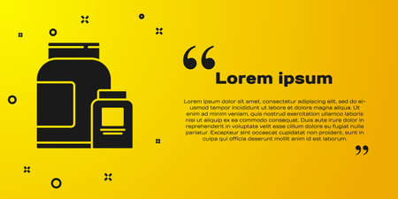 Black Sports nutrition bodybuilding proteine power drink and food icon isolated on yellow background. Vector Vettoriali