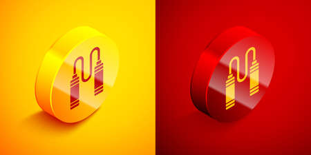 Isometric Jump rope icon isolated on orange and red background. Skipping rope. Sport equipment. Circle button. Vector