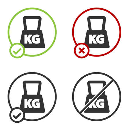 Black Weight icon isolated on white background. Kilogram weight block for weight lifting and scale. Mass symbol. Circle button. Vector