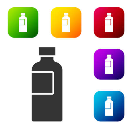 Black Fitness shaker icon isolated on white background. Sports shaker bottle with lid for water and protein cocktails. Set icons in color square buttons. Vector Vettoriali