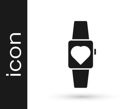 Black Smartwatch icon isolated on white background. Vector