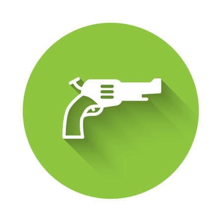 White Revolver gun icon isolated with long shadow. Green circle button. Vector
