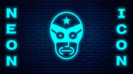 Glowing neon Mexican wrestler icon isolated on brick wall background. Vector Vettoriali