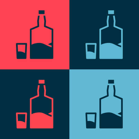 Pop art Tequila bottle and shot glass icon isolated on color background. Mexican alcohol drink. Vector