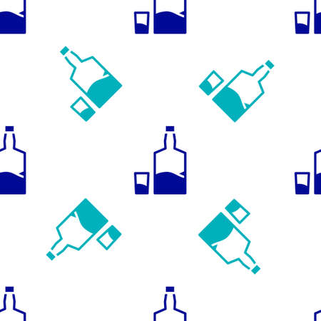 Blue Tequila bottle and shot glass icon isolated seamless pattern on white background. Mexican alcohol drink. Vector