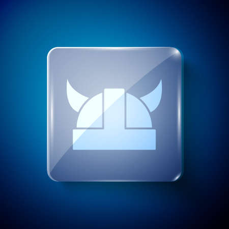 White Viking in horned helmet icon isolated on blue background. Square glass panels. Vector Illustration