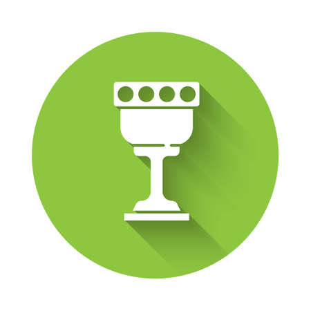 White Medieval goblet icon isolated with long shadow. Holy grail. Green circle button. Vector