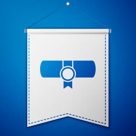 Blue Decree, paper, parchment, scroll icon icon isolated on blue background. White pennant template. Vector