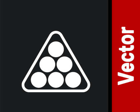 White Billiard balls in a rack triangle icon isolated on black background. Vector