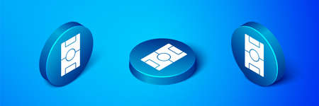 Isometric Football table icon isolated on blue background. Hockey table. Blue circle button. Vector Vettoriali